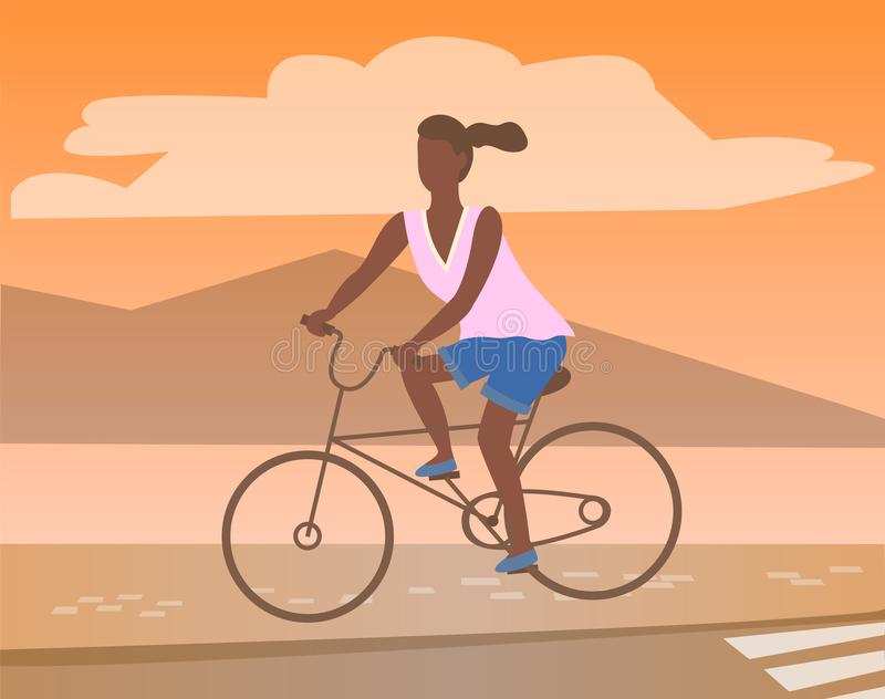 Afro-American Woman Riding on Bike, Mountain View. Afro-american woman riding on bike, mountain landscape. Vector black female cycling on bicycle at sunrise or vector illustration