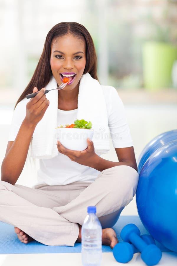 Afro American Woman Salad Stock Photos