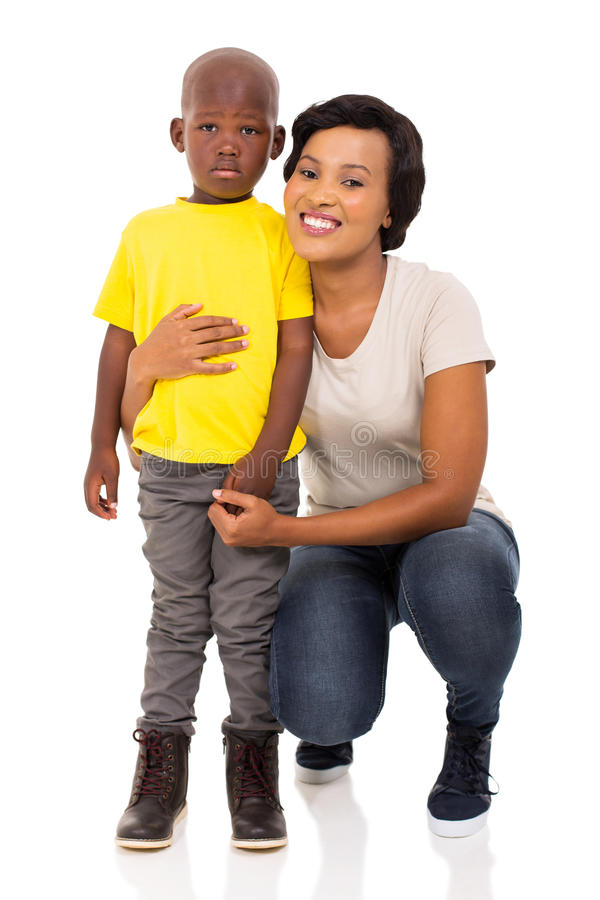 Afro american woman son. Portrait of afro american women with her cute son stock photos