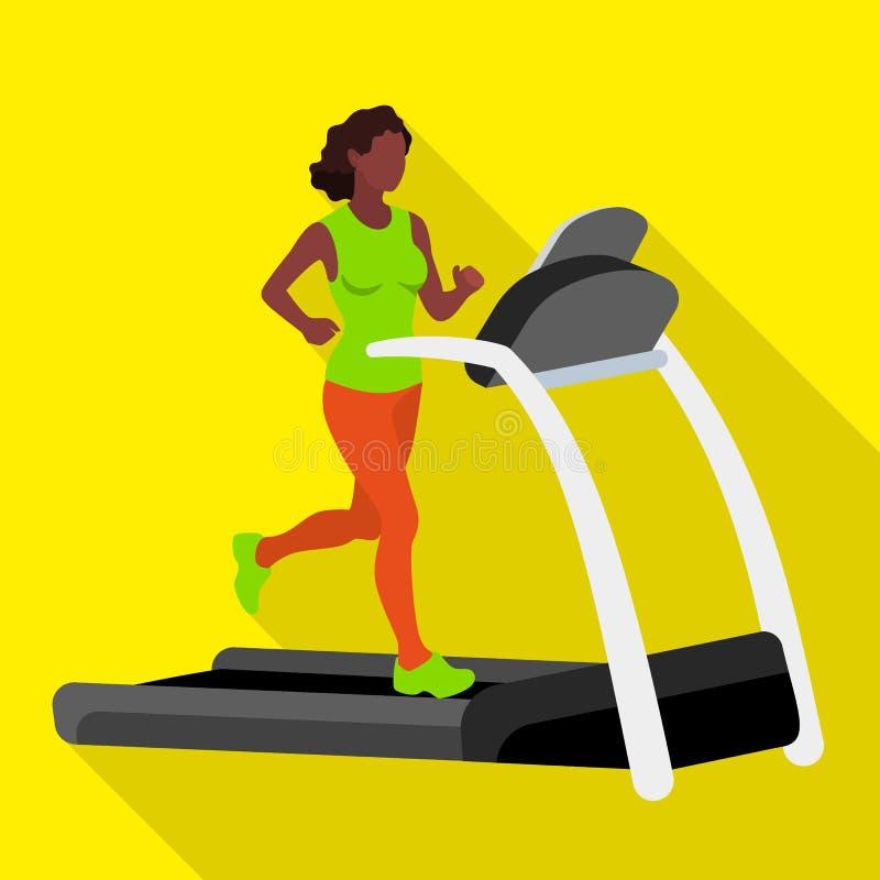 Afro american woman on treadmill icon, flat style vector illustration