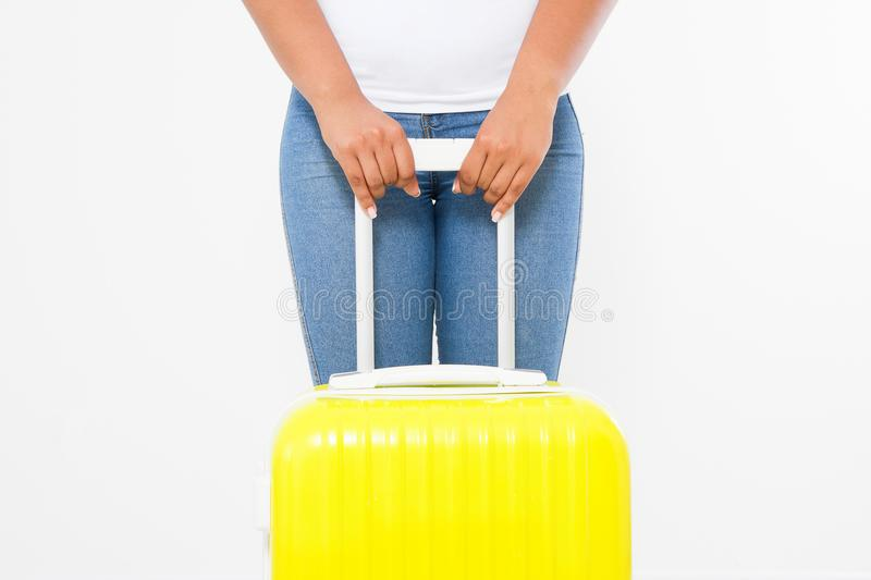 Afro american woman with yellow suitcase isolated on white template and blank background. Work and travel. Summertime african hips. Summer fun holiday. Afro stock photos