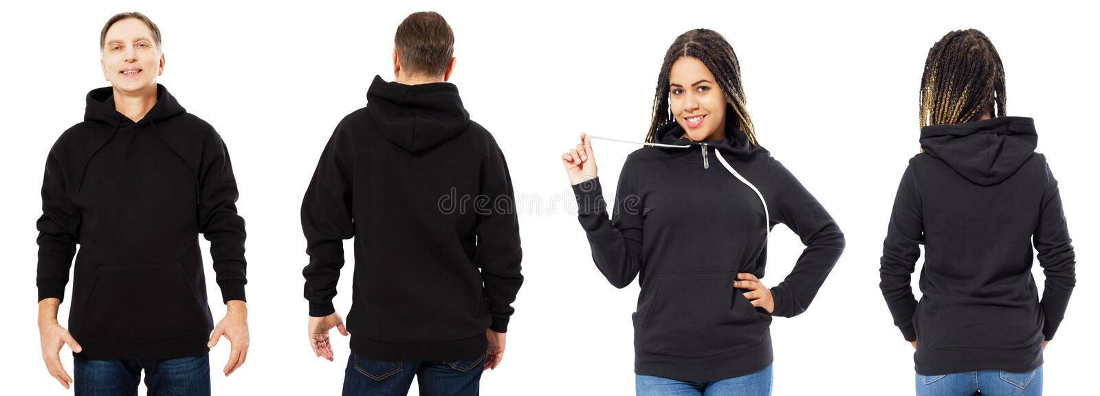 Afro american woman in hoodie mockup, man in empty hood front and back view isolated over white, hoodie set female and male royalty free stock photography