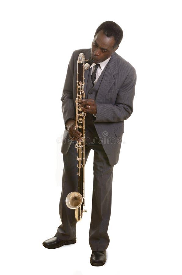 Afro-americano Jazz Musician com Bass Clarinet imagem de stock