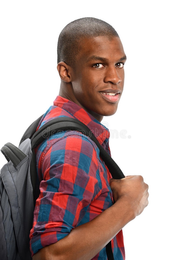 Afro-americano novo com trouxa fotografia de stock