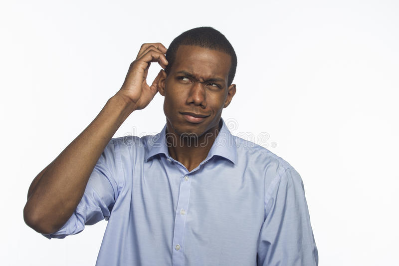 Afro-americano novo confundido, horizontal fotografia de stock