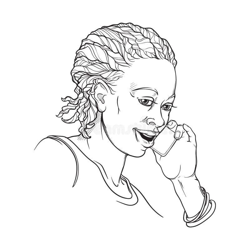Afro-Amerikaanse jonge vrouw die met cornrowvlechten op de telefoon en het glimlachen spreekt Zwart-witte lineaire geïsoleerde sc royalty-vrije illustratie
