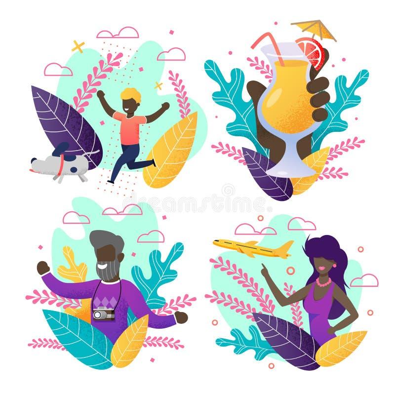 Afro-Amerikaanse Mensen op de Reeks van de Groetuitnodiging vector illustratie