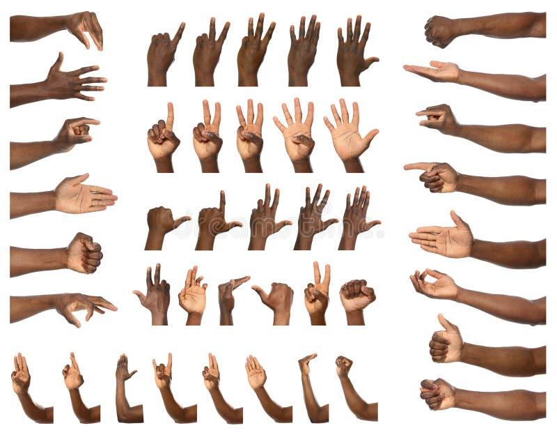 Afro--amerikan man som visar gester på vit bakgrund, closeupsikt av händer arkivbilder