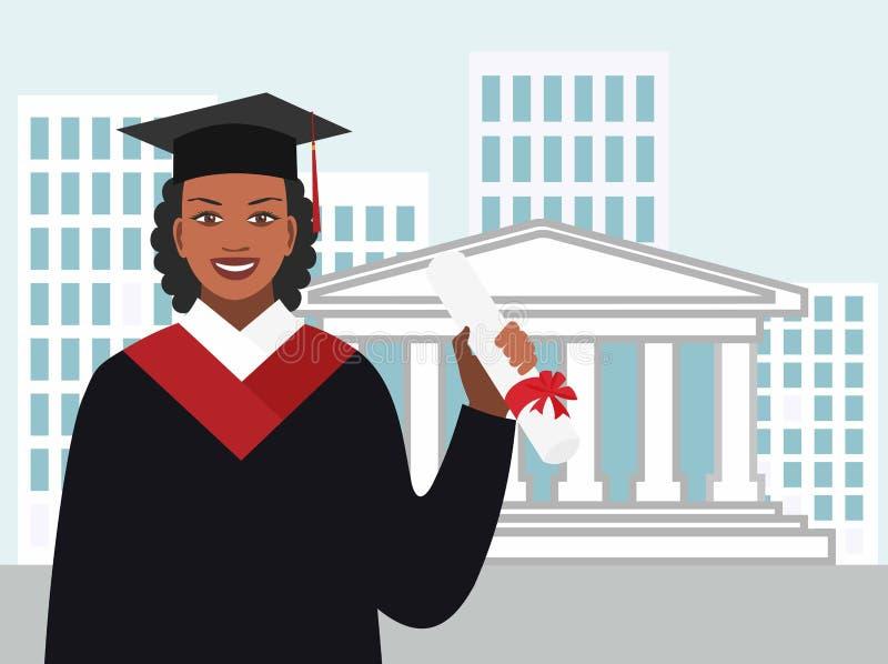Afro-amerikanische Frau in einem Kleiderabsolvent mit einem Diplom lizenzfreie abbildung