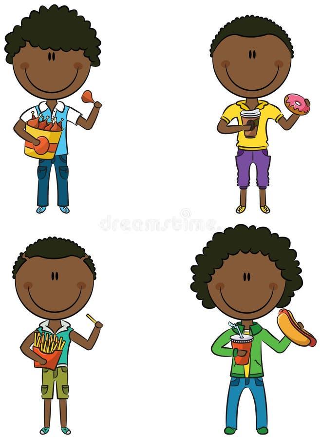 Afro-amerikanische Jungen mit nehmen Lebensmittel weg stock abbildung