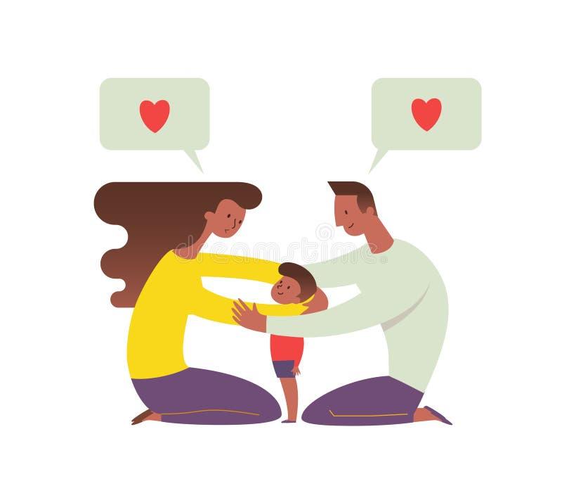 Afro-amerikanische Mutter und Vati, die ihr Kind umfasst und mit ihm spricht Konzept der liebevollen Familie und des glücklichen  lizenzfreie abbildung