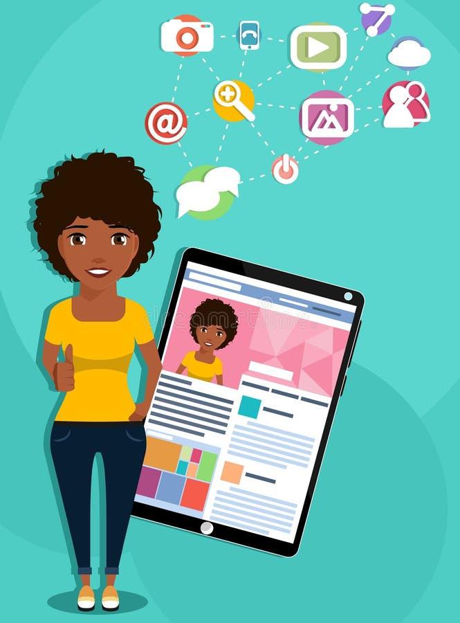 Afro-amerikanisches Mädchen mit einem Tablet-Computer lizenzfreies stockbild