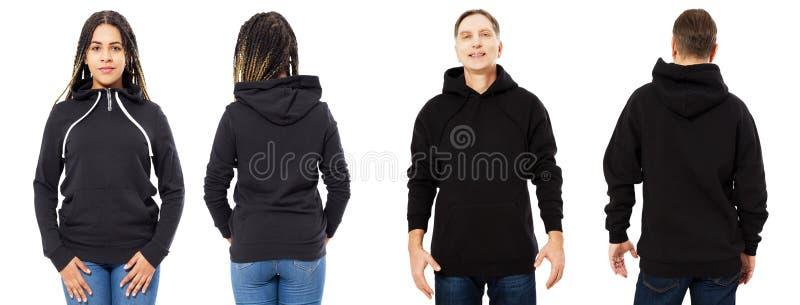 Afro- amerikansk flicka i den svarta hoodieframdelen och tillbaka sikten, man i svart tröjauppsättningcollage som isoleras på vit royaltyfria bilder