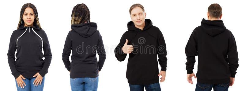 Afro- amerikansk flicka i den svarta hoodieframdelen och tillbaka sikten, man i svart tröjauppsättningcollage som isoleras på vit arkivfoto