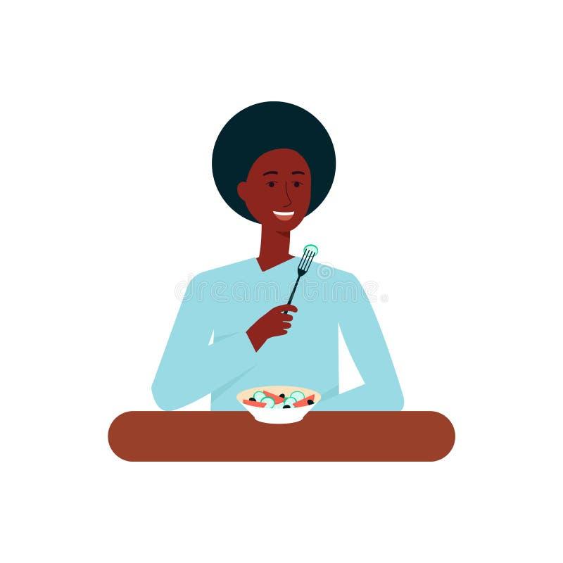 Afro- amerikansk kvinna eller flicka som äter den plana vektorillustrationen som isoleras på bakgrund stock illustrationer