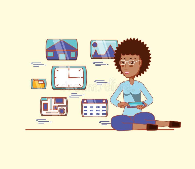 Afro- amerikansk kvinna med massmedia för telefonappssamkväm royaltyfri illustrationer