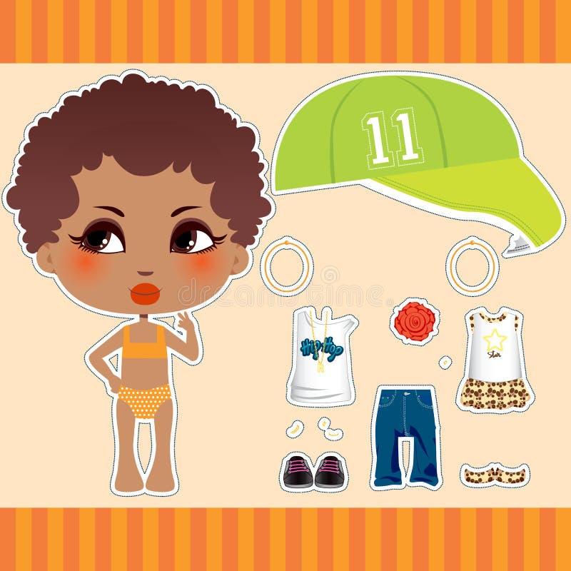 afro amerikansk modeflicka royaltyfri illustrationer