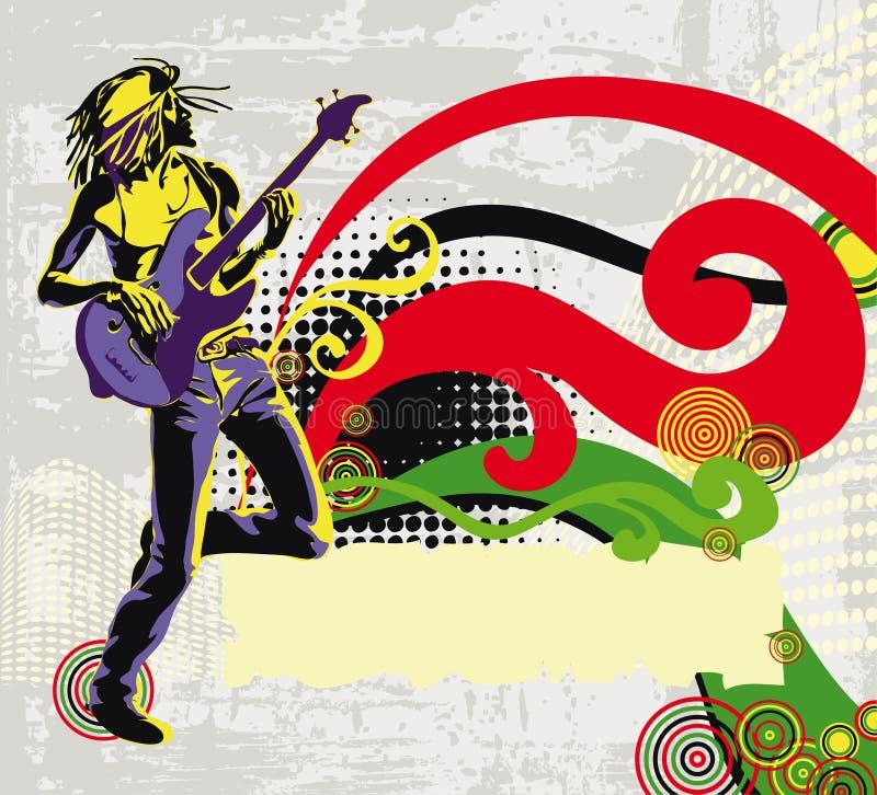 afro amerikansk reggaesångare royaltyfri illustrationer