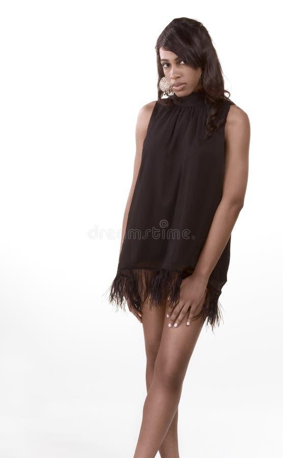 afro amerikansk svart kvinna för klänningmodemodell arkivfoto