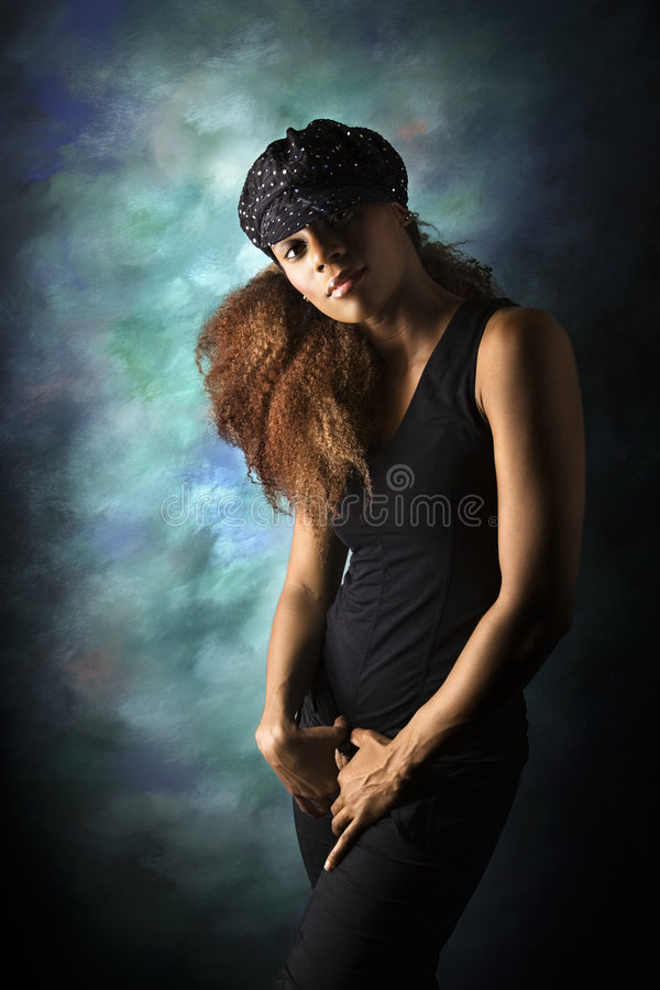 afro - amerykański portret kobiety young obrazy royalty free