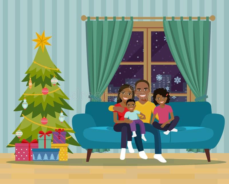 Afro amerykański rodzinny obsiadanie na kanapie w żywym pokoju boże narodzenie nowy rok szczęśliwy wesoło ilustracji