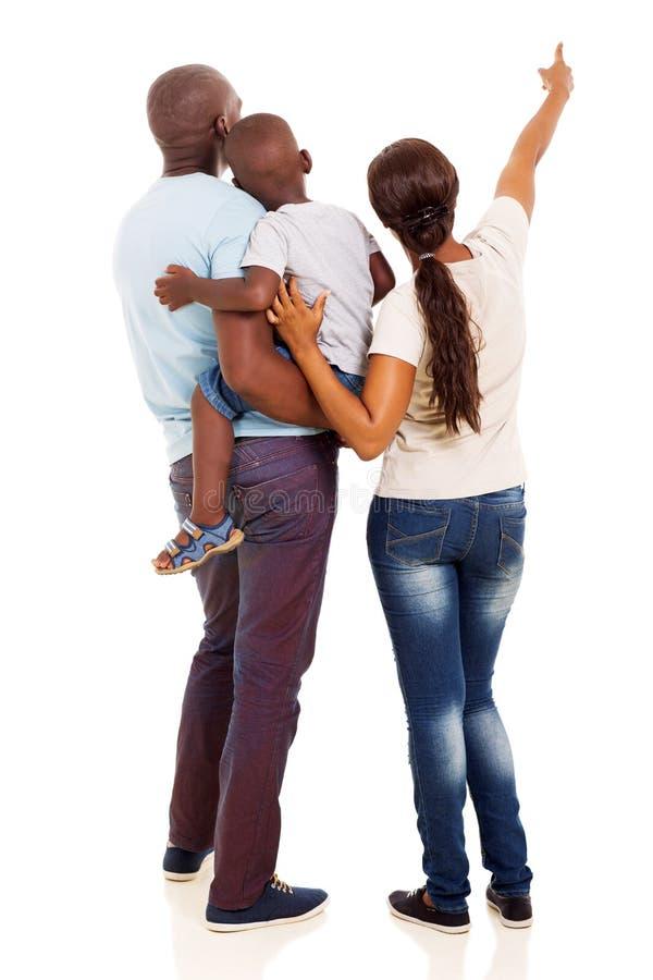 Afro amerykański rodzinny wskazywać zdjęcie royalty free