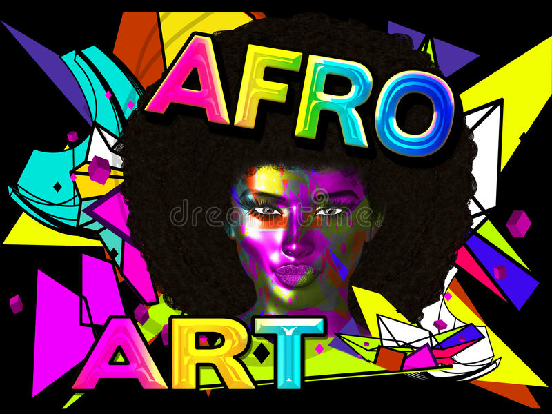 Afro Art Woman, colorful digital art with a vintage and retro look with abstract background. Afro Art Woman, colorful digital art with abstract background and a stock images