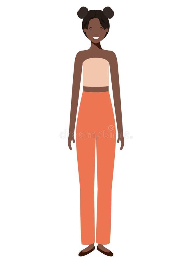 Afro avatartecken för ung kvinna stock illustrationer