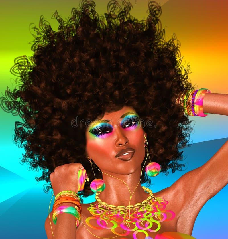 Afro, bello fronte, donna illustrazione vettoriale