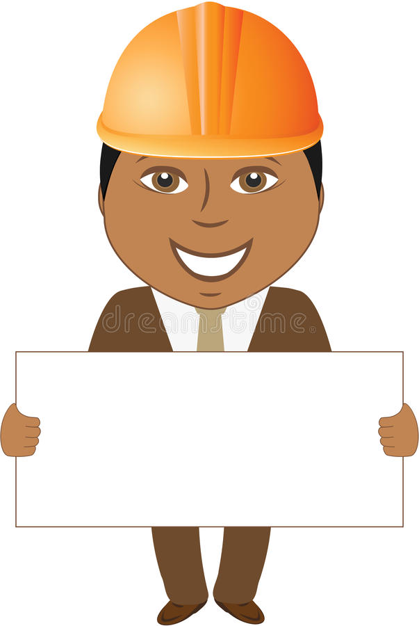 Download Afro Builder Engineer With Blank For Text Stock Vector - Image: 25857523