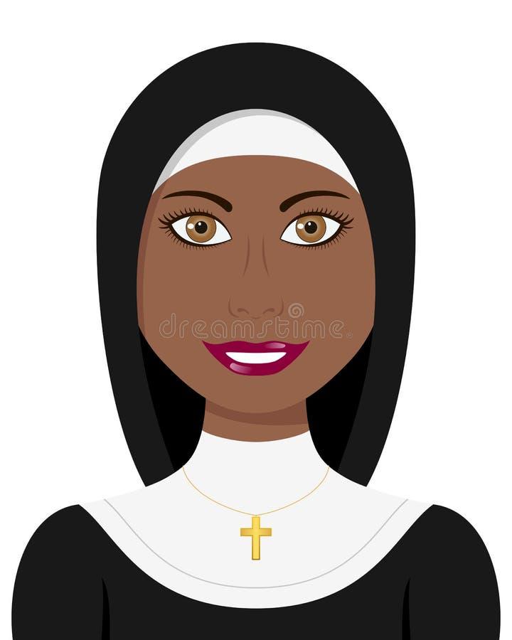 Afro Christian Nun met Traditionele Kleding royalty-vrije illustratie