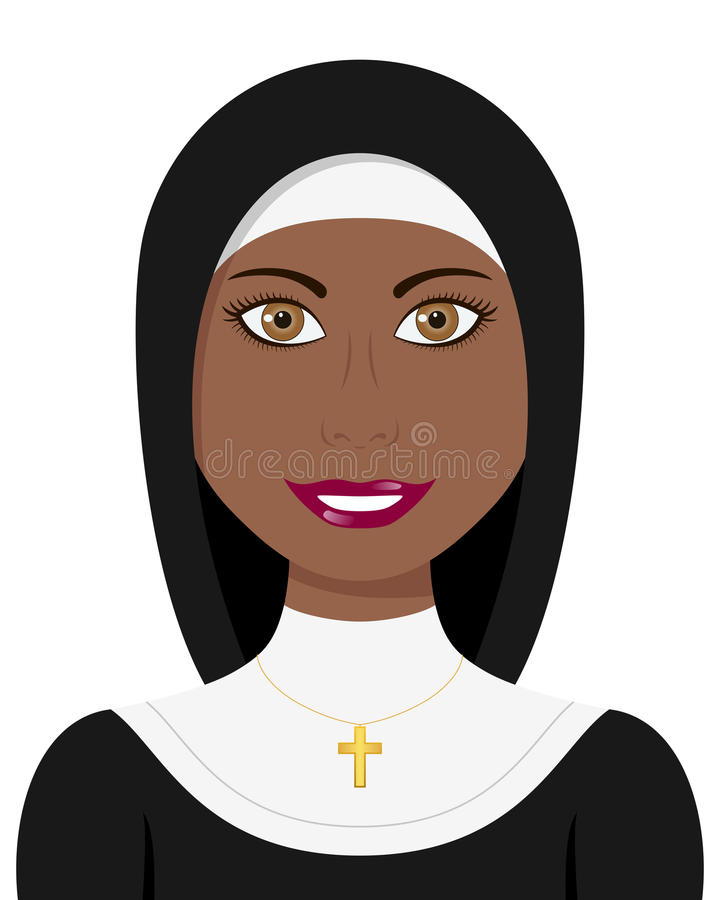Afro Christian Nun with Traditional Dress royalty free illustration