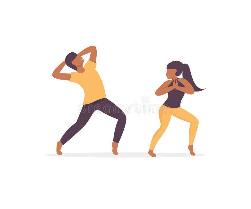 Afro del ballerino della donna e dell'uomo illustrazione di stock