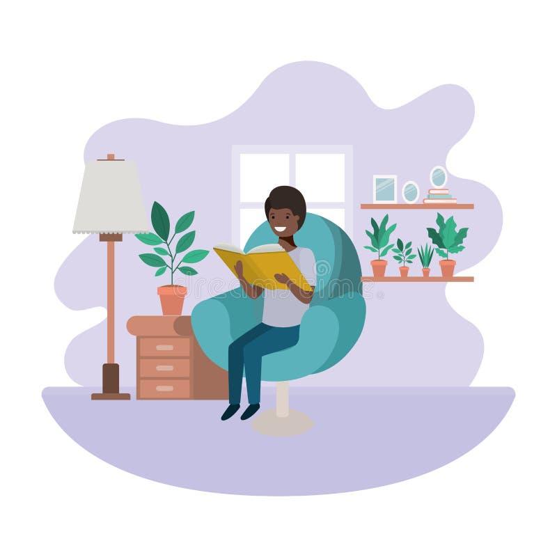 Afro dell'uomo con il libro nel carattere dell'avatar del salone royalty illustrazione gratis