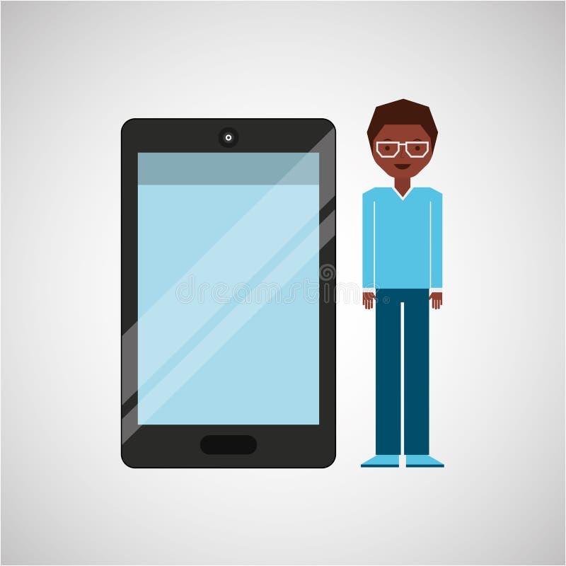Afro dell'uomo del carattere con lo strato brillante dello smartphone illustrazione di stock
