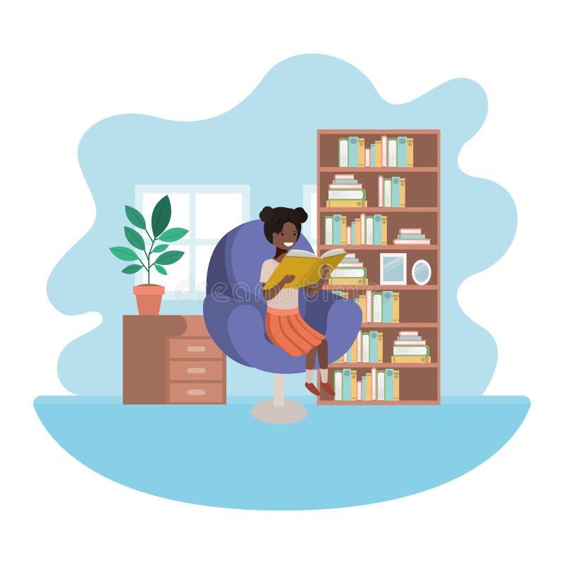 Afro della donna con il libro nel carattere dell'avatar del salone illustrazione di stock