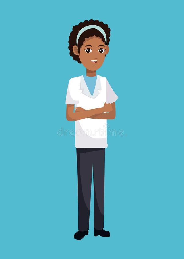 Afro della donna di medico amarican illustrazione vettoriale