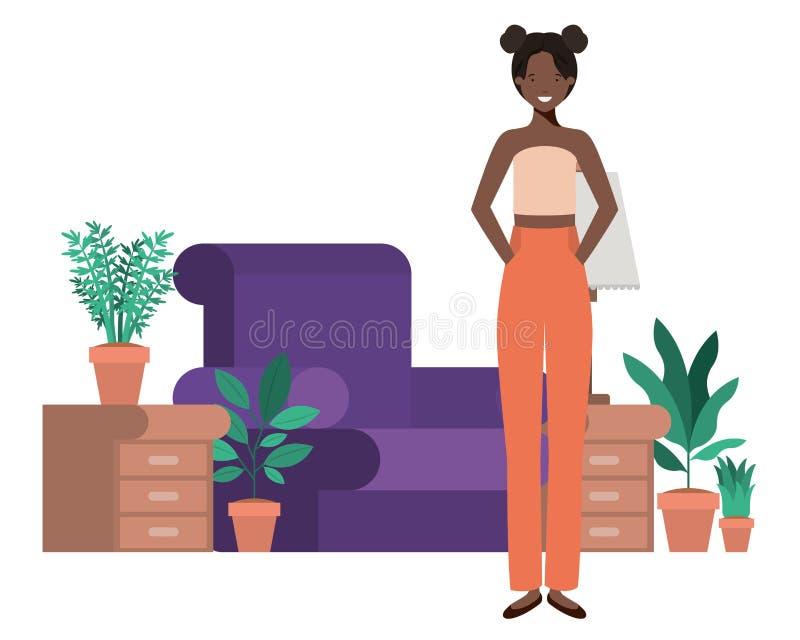 Afro della giovane donna nel carattere dell'avatar del salone illustrazione di stock