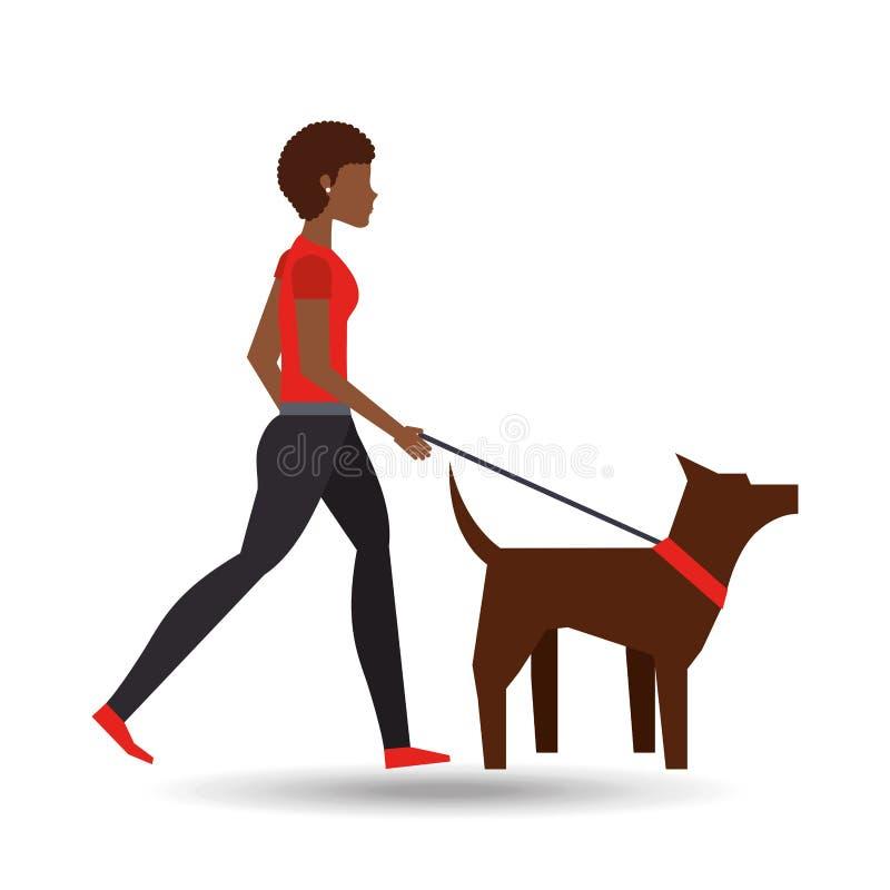 Afro della ragazza che cammina un cane marrone illustrazione di stock
