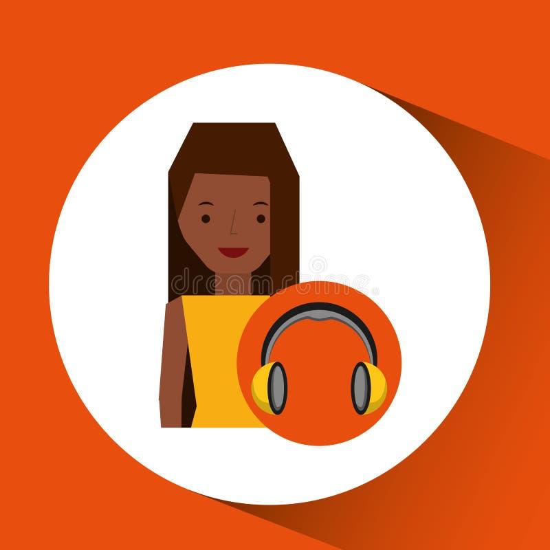 Afro della ragazza del carattere di musica delle cuffie illustrazione di stock