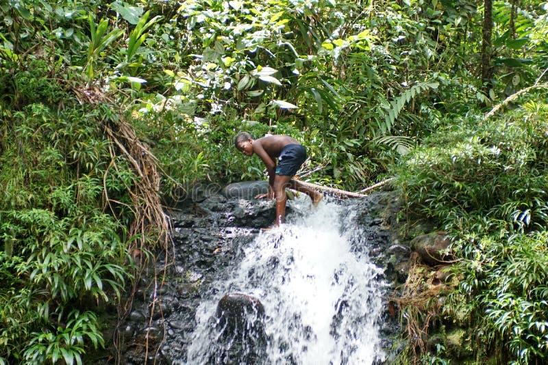 Man Jumps Cliff Waterfall Jump