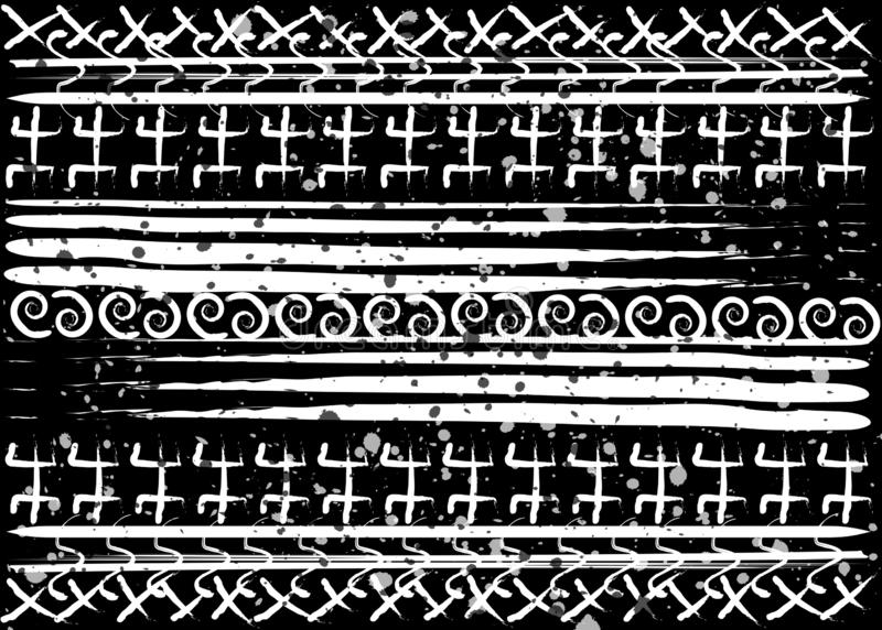 Afro ethnic pattern. Handmade geometric symbols and horizontal stripes. Black and white print design for your textiles. African. Print fabric texture ankara stock illustration
