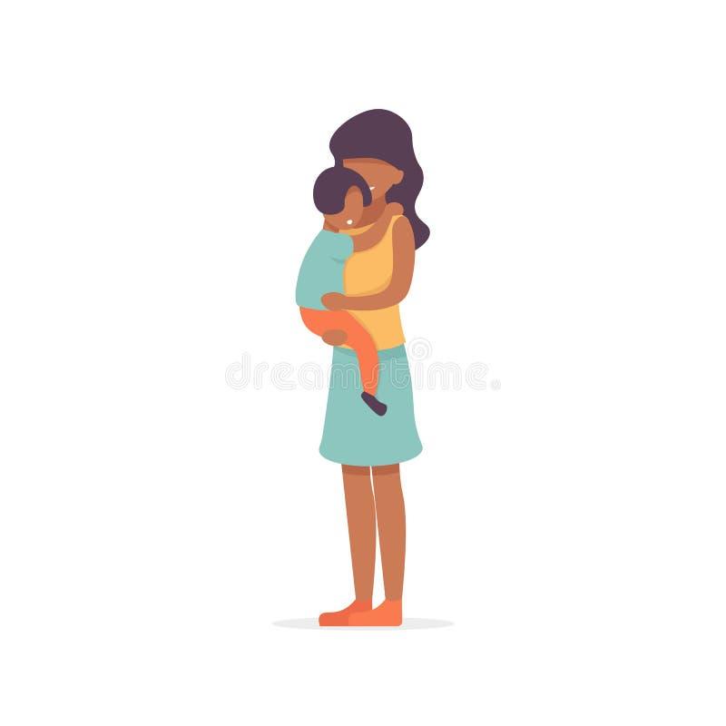 afro folk för moder och för son stock illustrationer