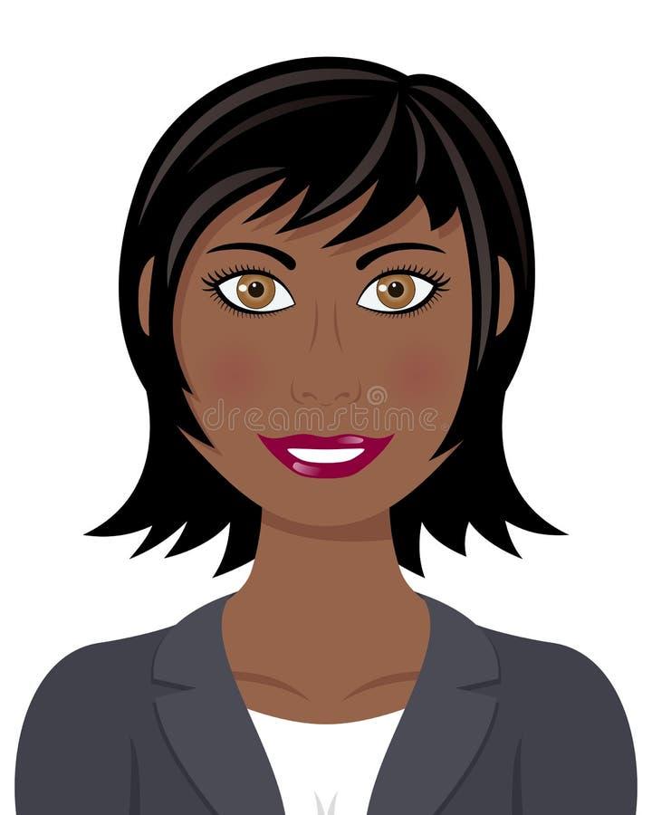 Afro-Geschäftsfrau mit dem schwarzen Haar vektor abbildung