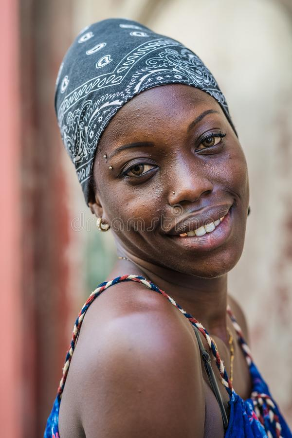Afro Girl. Portrait of a cuban girl. stock image