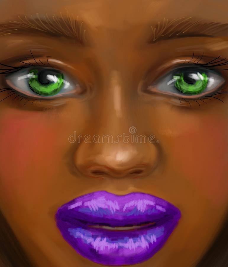 Free Afro Girl With Green Eyes And Purple Lips In Oil Painting Style Royalty Free Stock Photos - 104262198