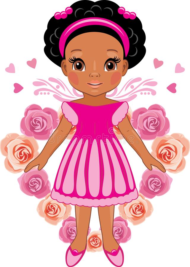 Afro little girl on the background of the heart of pink roses stock photo