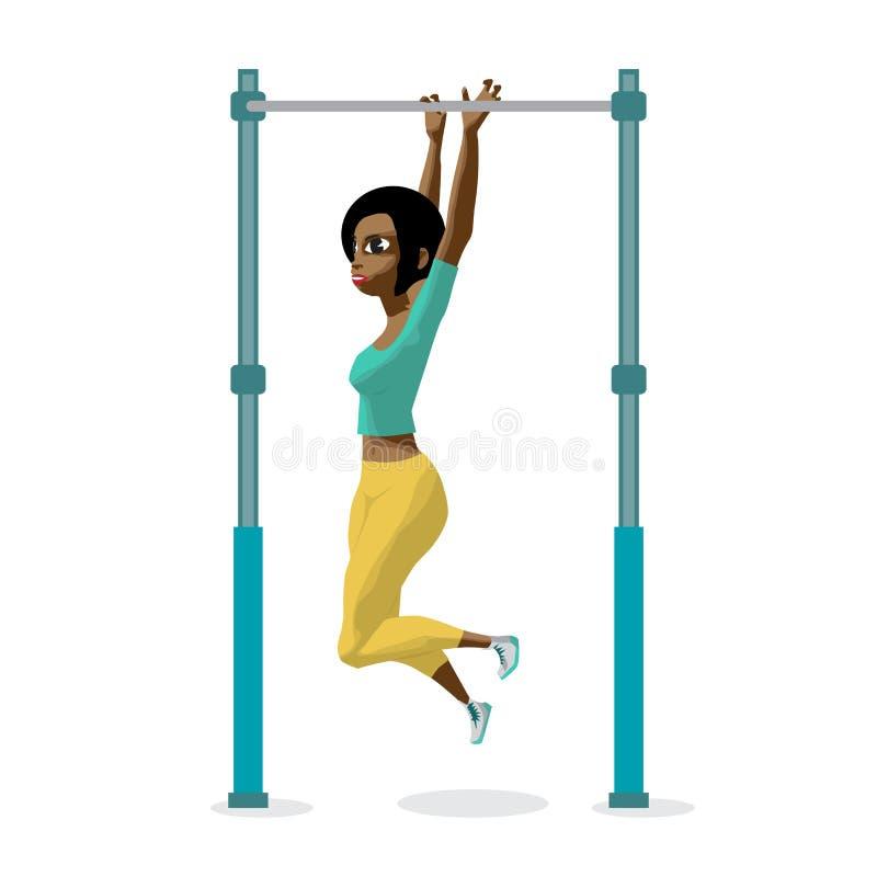 Afro młoda kobieta w sporta odzieżowym obwieszeniu na horyzontalnym barze royalty ilustracja