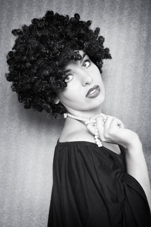 afro modefrisyrmodell royaltyfri bild