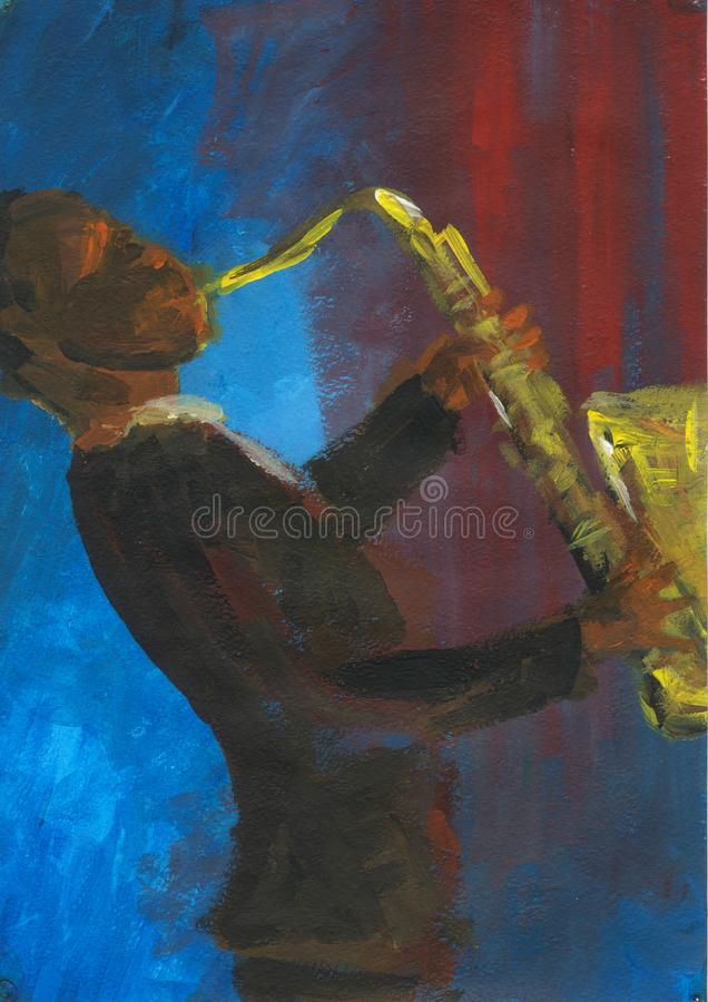 Saxophonist performs at the concert. Afro musician plays the saxophone. Jazzman onstage. Jazz gig. Abstract painting. Handpainted acrylic artwork. Blue and red stock illustration